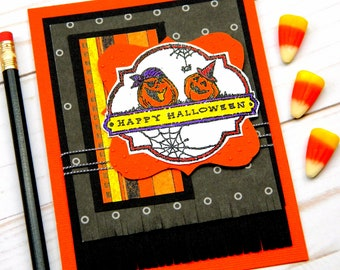 Happy Halloween Card - Jack O Lantern Card - Handstamped Cards -  Stampin Up Cards