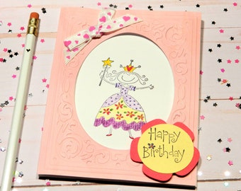 Bday Cards For Her - Princess Bday - Happy Birthday Her - Cute Card For Her - Daughter Bday - For Granddaughter - Greetings Card Her
