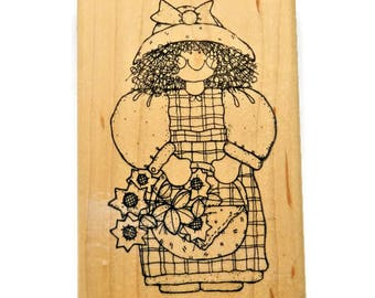Country Girl Stamp - DOTS Rubber Stamps - Sunshine and Sunflowers - Girl With Basket - Girly Stamps - Paper and Ink Stamps