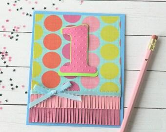 First Bday Card - Girls 1st Birthday - 1 Year Old Girl - Milestone Birthday - Happy Birthday Her - Greetings Card Her - Polka Dot Card