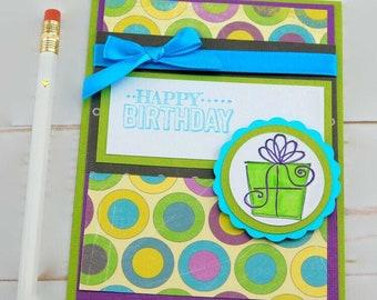 Stampin Up Birthday Cards, Purple Circles Birthday Card, Birthday Present, Card For Girlfriend
