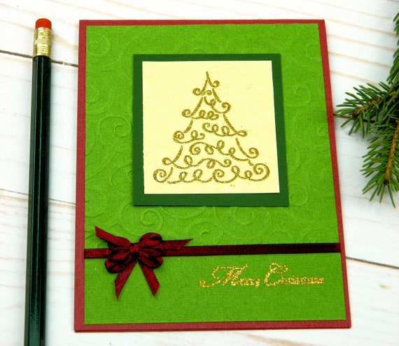 Handmade Christmas Card Images.Handmade Christmas Cards Christmas Tree Card Christmas Card Sets Boxed Greeting Cards Stampin Up Cards