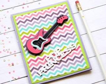 Guitar Birthday Card - Pop Princess - Bday Cards For Girls - Happy Birthday Her - Teen Girl Bday Card - Cards For Sister - Greetings Cards
