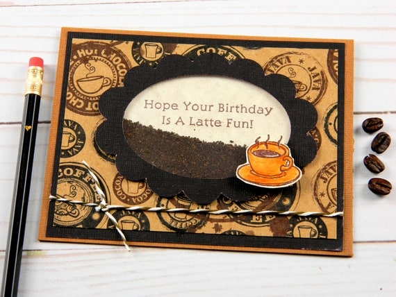 Greeting Cards Birthday Coffee Themed Latte