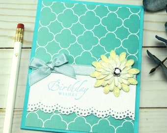 Birthday Wishes Card - Quatrefoil Card - Stampin Up Card - Homemade Card