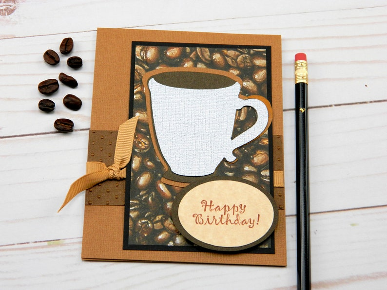 Greeting Cards Happy Birthday Card Coffee Themed