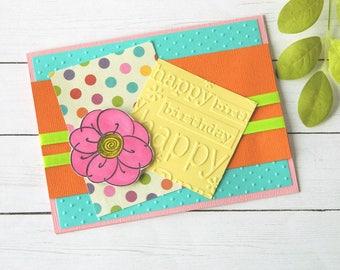 Floral Birthday Card - Bday Card Wife - Mom Birthday Card - Best Friend Birthday - Daughter Bday Card - Happy Birthday Her