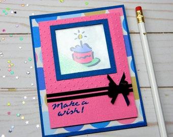 Birthday Cake Card - Birthday Shaker Card - Stampin Up Card - Handmade Card