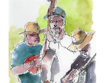 """Print from original watercolor and pen urban sketch, """"Farmer's Market Buskers"""" by Mark Alan Anderson."""