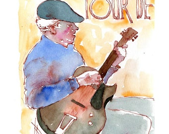 """Print from original watercolor and pen urban sketch, """"Street Musician"""" by Mark Alan Anderson."""