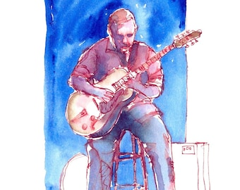"""Print from original watercolor and pen urban sketch, """"Electric Guitar"""" by Mark Alan Anderson."""