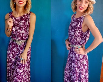 Vintage 90s Grunge Floral Dress - Purple Sleeveless Midi Dress - Maxi Dress - Violet Summer Dress - Size Medium