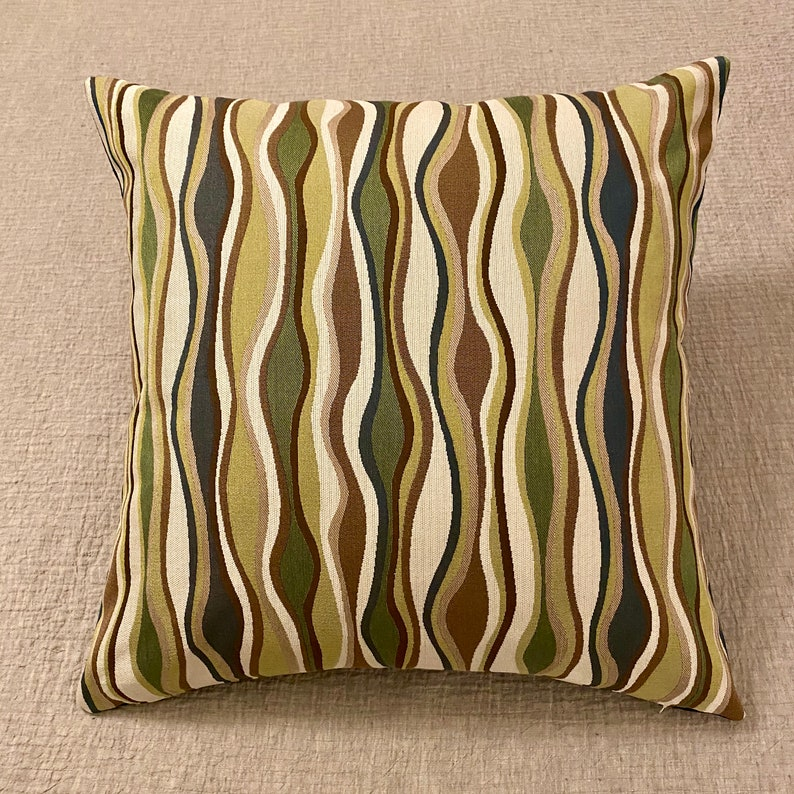 26x26 Mid Century Wave Euro Sham Pillow Cover Vintage Vivaldi Culp Upholstery Fabric in Emerald