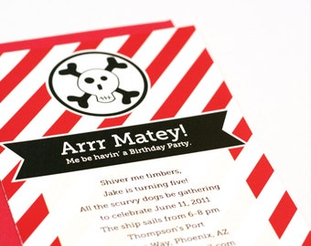 """Pirate Party Invitations """"Arrr Matey"""" Personalized Printable Birthday Invites"""