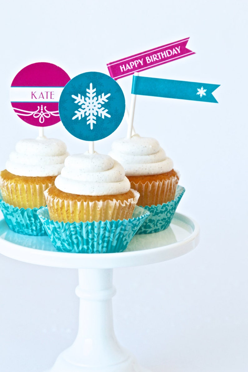 PERSONALIZED Cupcake Toppers for Frozen inspired Birthday image 0