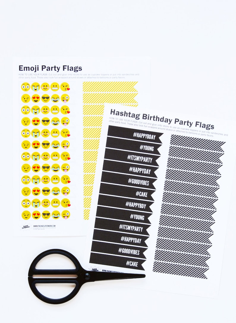 Emoji Birthday Party Flags  Printable PDF Party Decor image 0