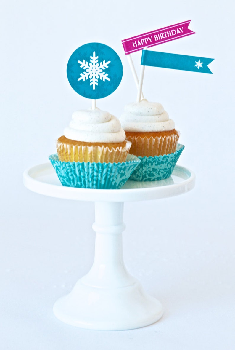 Snowflake Party Flags for Frozen inspired Birthday Party  image 0