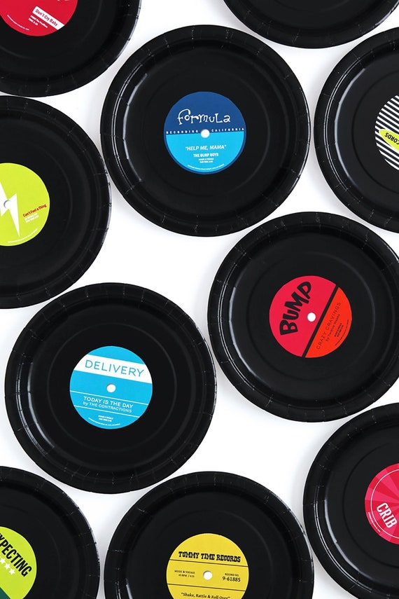 image about Printable Records known as Rock Star Kid Shower Heritage Labels for Paper Plate Documents - Printable PDF- Gender Impartial - Boy Female Colours Out there