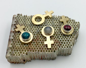Female Symbol Brass Pin // Moonstone, Garnet, Turquoise // 20% Donated to Planned Parenthood