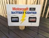 Vintage FORD Motorcraft Dealership Battery Display Rack Auto Oil Gas Sign