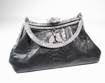 Besso Black Snakeskin Leather Swarovski Crystal Handbag Evening Purse  Boutique b0b0c117a1248