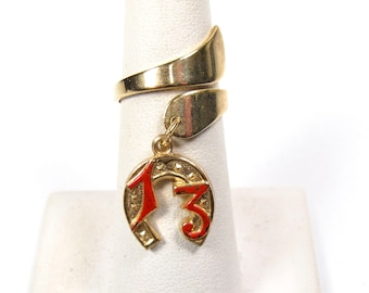 14k Yellow Gold Lucky Horse Shoe Mini Size Child Ring Adult Pinky Ring Created CZ Crystal