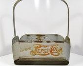 1940s Pepsi Cola Steel Double Dot Logo Advertising Soda Bottle Carrier Vintage