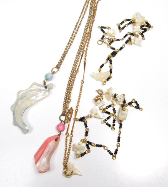 5 pc Vintage Lot Shell Necklaces 1980s Beach Vibes Sharks Tooth Mother of Pearl