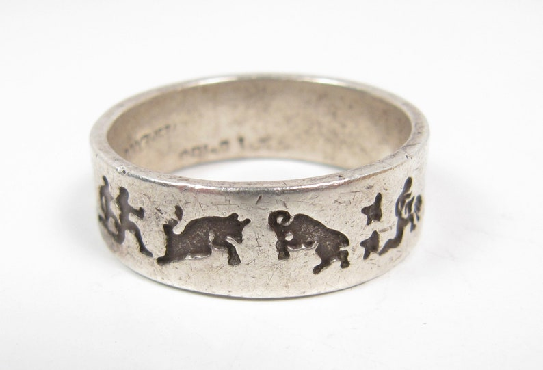 Sterling Silver Men/'s Zodiac Band Ring Vintage Size 13 Aries Taurus Libra Pisces
