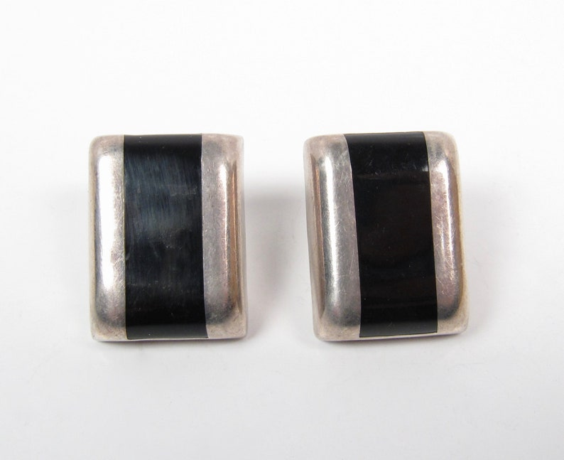 Black Onyx Inlay Stripe Sterling Silver Vintage Post Rectangle Earrings 1980s