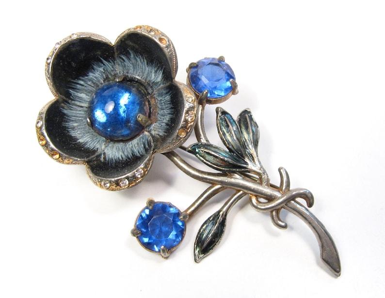 a39dd27979b Large Vintage Pot Metal Flower Brooch Blue Glass Stones | Etsy