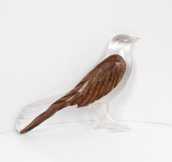 Vintage Carved Lucite & Walnut Wood Wing Bird Pin