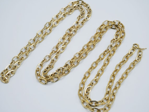 Vintage Gold Link Chain Necklace Crown Trifari Vin