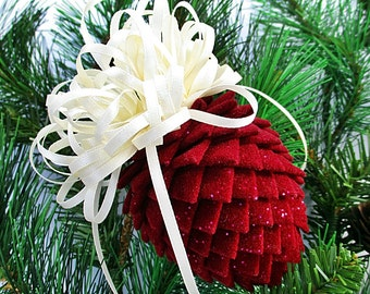 Fabric Pinecone Ornament - Burgundy Sparkle Velour with Cream Satin Bow - Christmas Ornament, Stocking Stuffer, Co-Worker Gift