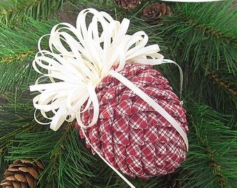 Fabric Pinecone Ornament - Dark Red & Cream Homespun,Cream Satin Bow - Christmas Ornament, Ornament Exchange, Stocking Stuffer