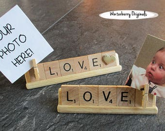 Shelf Photo Sign - LOVE - Scrabble shelf or desk sign with clip to add photo - photo sign, co-worker gift, stocking stuffer, photo display