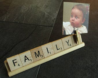 Shelf Photo Sign - FAMILY - Scrabble shelf or desk sign with clip to add photo - photo sign, co-worker gift, stocking stuffer, photo display