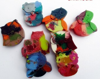 Upcycled Owl Crayons - Multi-Colored , Bag of 8 - Recycled Crayons , Party Favor , Stocking Stuffer