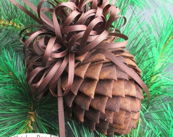 Pierced Fabric Pinecone Ornament - Shades of Brown - Christmas Ornament, Stocking Stuffer, Co-Worker Ornament
