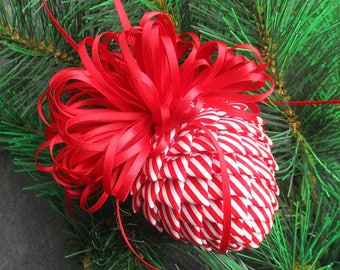 Fabric Pinecone Ornament - Red and White Stripes with White Bow - Christmas Ornament, Stocking Stuffer, Co-Worker Gift, Ornament Exchange
