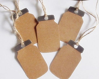 Mason Jar Gift Tags - Set of 5 - food gift tag, country gift tag, primitive gift tag