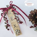 Personalized DOG Scrabble Tile Ornament w/Pewter Paw Print Charm