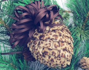 Fabric Pinecone Ornament - Animal Print with Brown Satin Bow - Christmas Ornament, Stocking Stuffer, Co-Worker Gift, Ornament Exchange