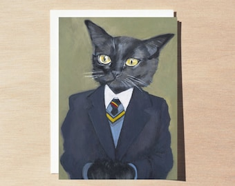 George - Greeting Card - Blank Inside - Cats In Clothes
