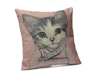 Cats In Clothes Pillow Cover - Elise - Painting by Heather Mattoon