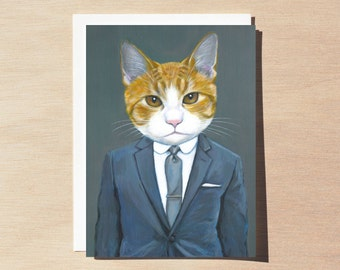 Benny - Holiday Greeting Card - Blank Inside - Cats In Clothes