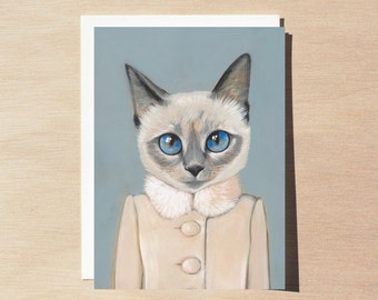 Violet - Greeting Card - Blank Inside - Cats In Clothes