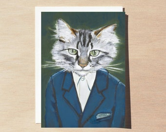Alan - Greeting Card - Blank Inside - Cats In Clothes