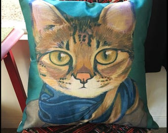 Cats In Clothes Pillow Cover - Savannah - Painting by Heather Mattoon