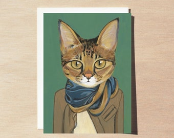 Savannah - Greeting Card - Blank Inside - Cats In Clothes